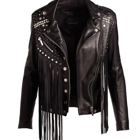 Women Black Color Genuine Casual Leather Jacket With Silver Studded & Fringes