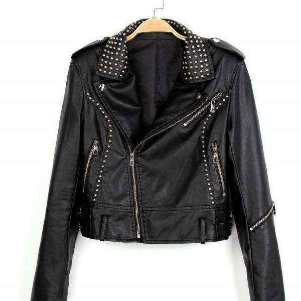 Hand Crafted Black Genuine Real Leather Jacket With Silver Studs For Women