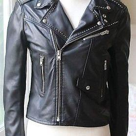 Customized Women Black Biker Genuine Leather Jacket Silver Studded Brando Style