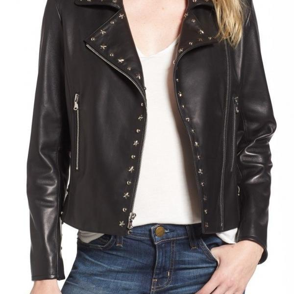 Women Black Biker Genuine Leather Jacket Silver Star Studded Brando Style