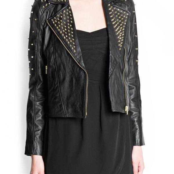 Women Black Classical Genuine Leather Jacket Golden Studded Front Zipper
