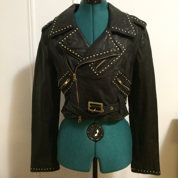 Women Black Genuine Leather Jacket Silver Studded Front Zipper Brando Style