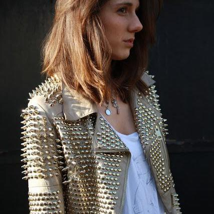 Golden Color Women Genuine Elegant Leather Jacket Golden Spiked Studs Punk Style