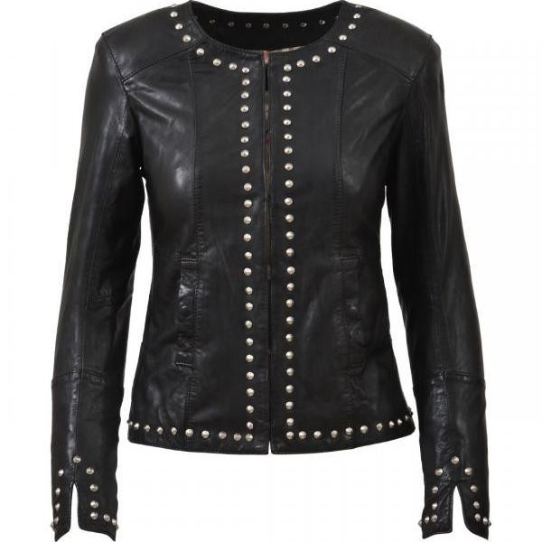 Women Black Casual Genuine Leather Jacket Silver Studs Zippered Sleeves
