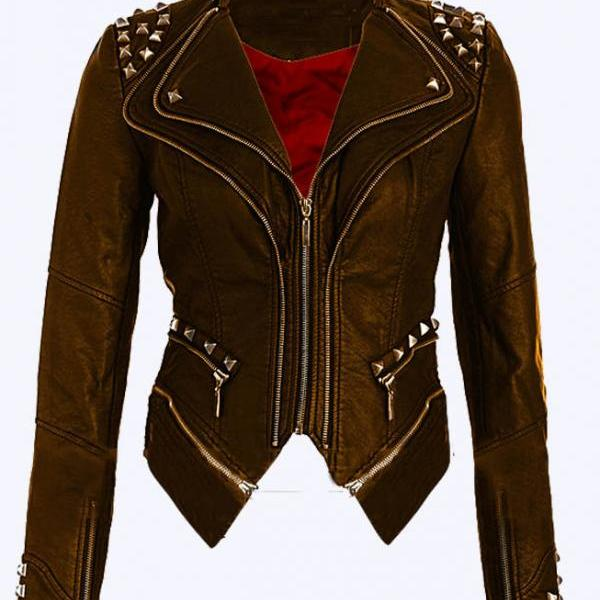 Women Brown Color Stylish Genuine Leather Jacket Silver Studded Hand Stitched