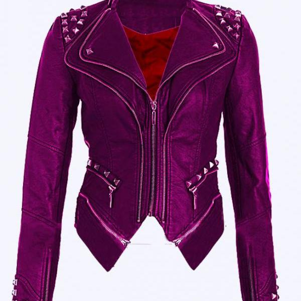 Women Purple Color Stylish Genuine Leather Jacket Silver Studded Hand Stitched
