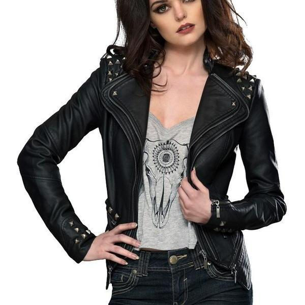 Women Black Color Stylish Genuine Leather Jacket Silver Studded Hand Stitched