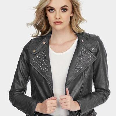Women Gray Color Short Body Genuine Leather Jacket Black Studded Slim Fit