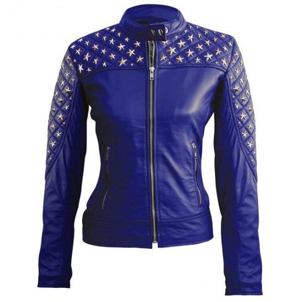Blue Color Women Genuine Classical Leather Jacket Silver Star Studs Front Zipper