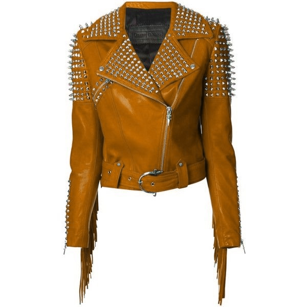 Women Yellow Classical Genuine Leather Jacket Spiked Silver Studded & Fringes