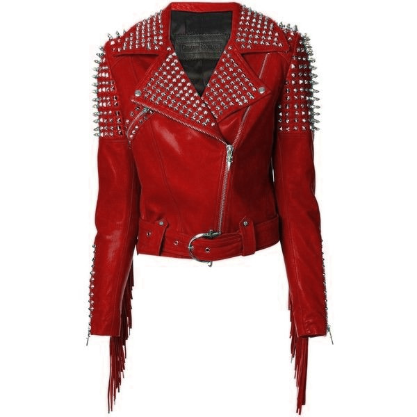 Women Red Classical Genuine Leather Jacket Spiked Silver Studded & Fringes