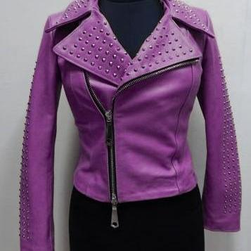Purple Color Women Genuine Classical Leather Jacket Purple Studs Front Zipper