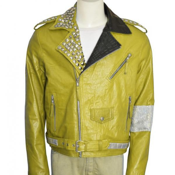 Men Yellow Color Genuine Casual Leather Jacket Silver Studded Shoulder Straps