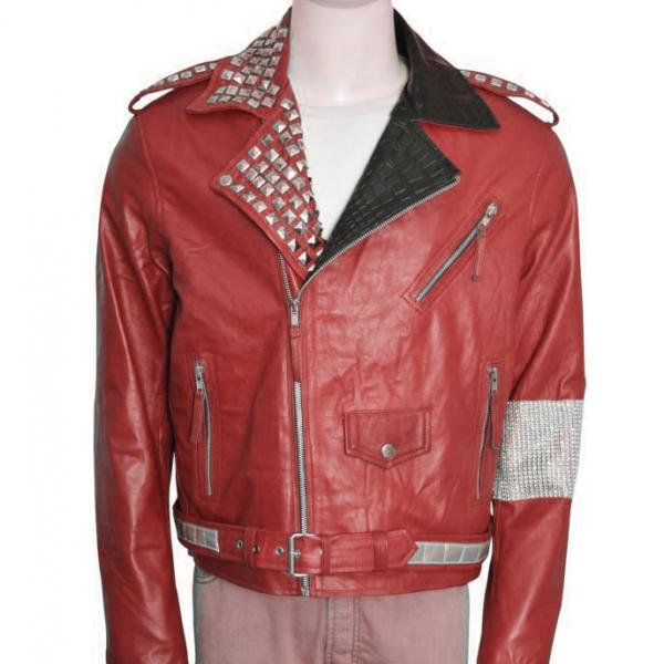 Men Red Motorcycle Genuine Leather Jacket Silver Studded Brando Style For Men