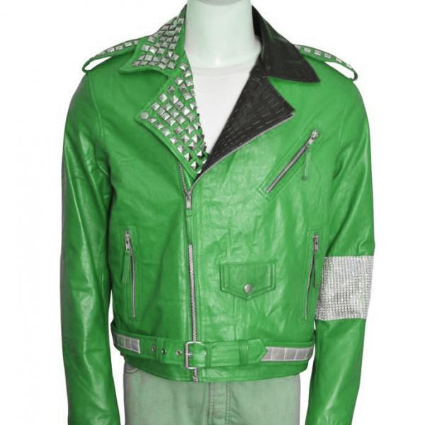 Men Green Motorcycle Genuine Leather Jacket Silver Studded Brando Style For Men