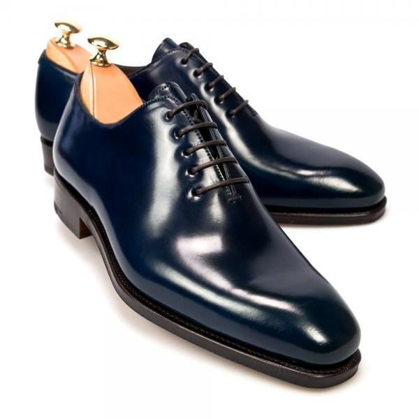 Oxford Navy Blue Color Rounded Toe Elegant Vintage Leather Lace up Formal Dress Men Shoes