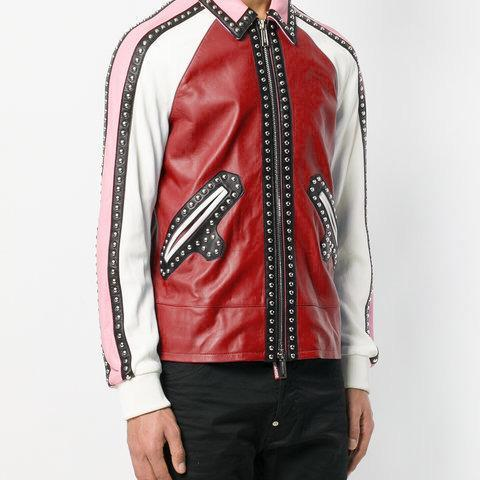 Multi Color Genuine Casual Leather Jacket Silver Studded Front Zipper For Men