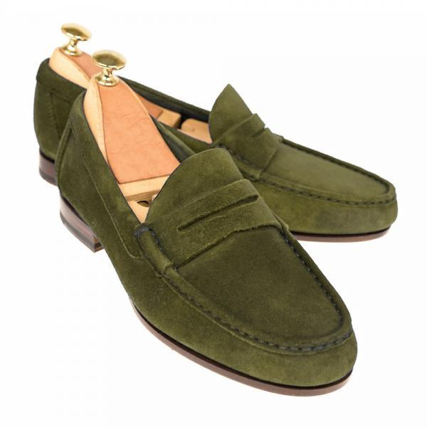 Green Moccasin Loafer Slip Ons Plain Apron Toe Genuine Suede Leather Men Slippers