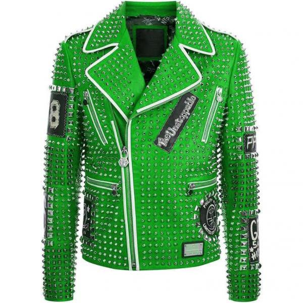 Parrot Green Genuine Real Leather Jacket Full Silver Studded Front Zipper & Zippered Sleeves