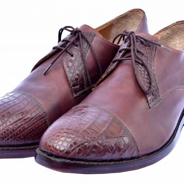 Derby Genuine Crocodile Cap Toe & Throat Cowboy Brown Pure Leather Dress Shoes