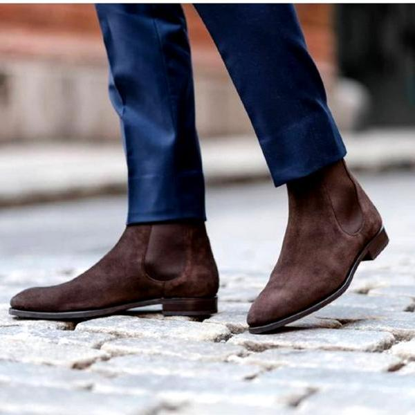 Innovative Pairs Havana Brown Terrific Shape Genuine Suede Leather Men Boots