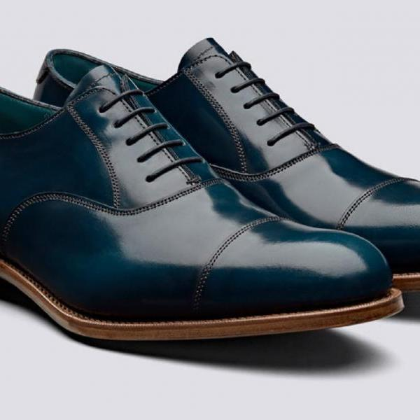 Customize Navy Blue Special Design Genuine Leather Men Balmoral Formal Dress Shoes