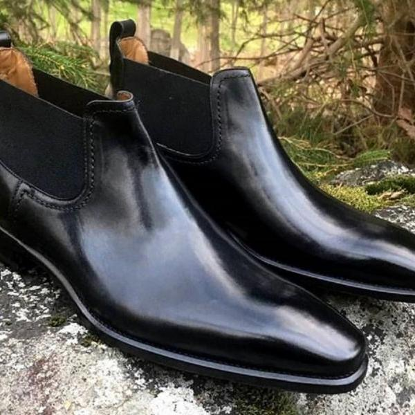 Excelling Pairs In Black Polish Fashionable Precise Leather Chelsea Dress Boots
