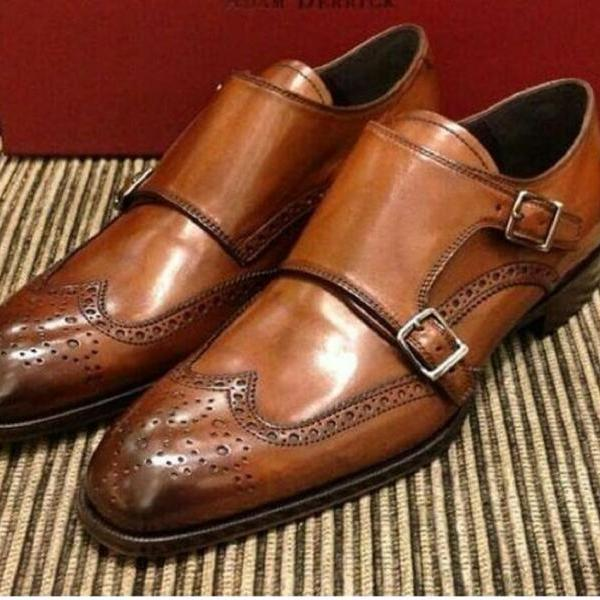Nice Quality Splendid Pairs Tan Brown Sterling Leather Monk Style Men Dress Shoes