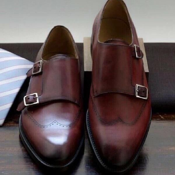 Crowning Baker's Chocolate Sterling Leather Men Office Dress Monk Shoes