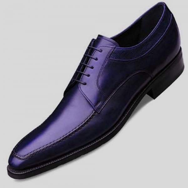 Stylish BLUCHER Style In Blue Color Genuine LEATHER Derby Wedding Shoes