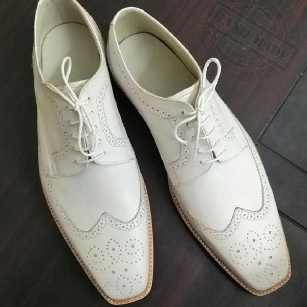 White Dress DERBY In Classy White Full Brogue Premium LEATHER Men Formal Shoes