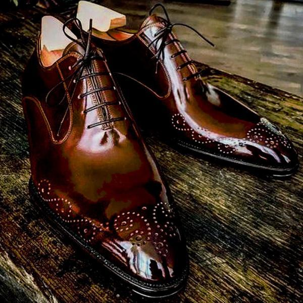 BALMORAL Style Brownish Patina Genuine LEATHER Men Formal Business Shoes