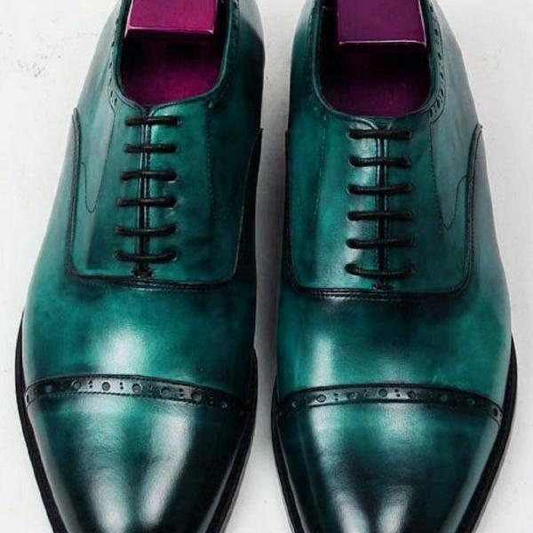New Arrival Handmade Green OXFORD Cap Toe Real LEATHER Dress Shoes